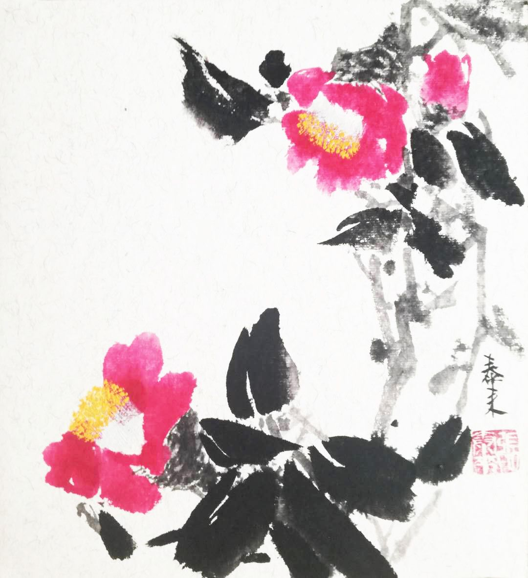 Camellia Kamelie Chinese Japanese Ink Sumie Painting Chinesische