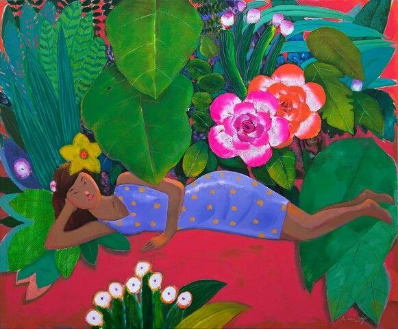 하늘 가득한 정원, 얼핏 열대우림 같아 보이는 나무들 사이로 맺힌 오색찬란한 꽃봉오리, 소녀의 향기속에서 느껴지는 설레임 등이 화폭에 담겼다.  아름다움을 꿈꾸는 크리스마스 멋지지 않을까요?  정원-여심, 72.7x60.6cm, Oil on Canvas, 이존립