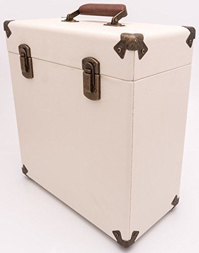 Cream And Tan Record Case 12 034 Vintage Style Storage Dj Carry Flight Box Vinyl Lp Album Storage Vinyl Record Case Vinyl Storage