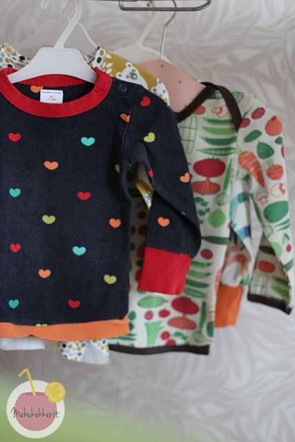 Onesies modified in to shirts.