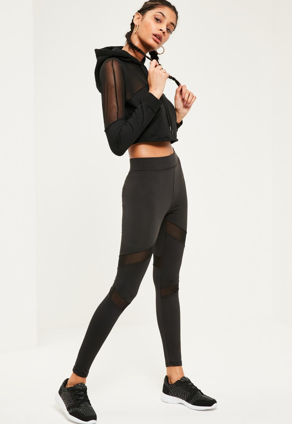8e596a1b368262 Missguided - Active Mesh Panel Gym Leggings Black | Activewear ...