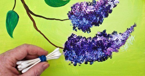 Lilacs Cotton Swabs Painting Technique