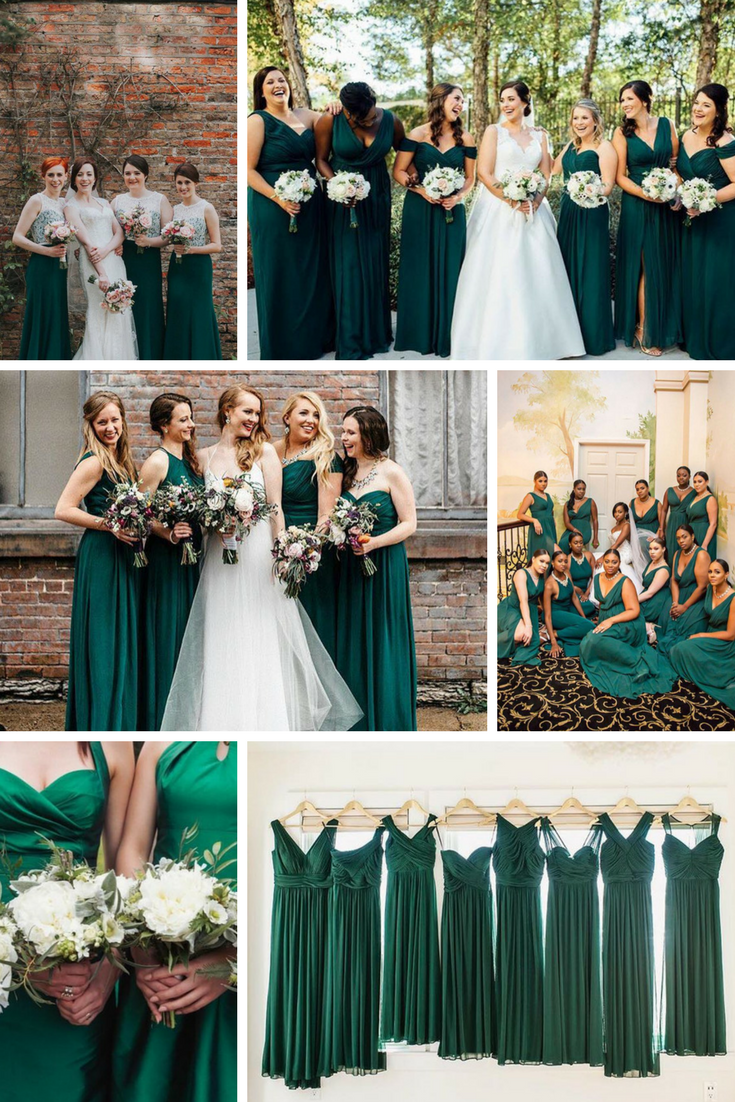 Why Dark Green Bridesmaid Dresses Are Having A Real Moment Just Now In 2020 Dark Green Bridesmaid Dress Emerald Green Bridesmaid Dresses Emerald Bridesmaid Dresses