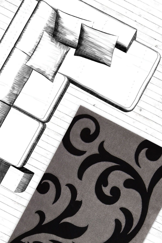 Raumbild von Design Teppich Heidi Silber / Schwarz