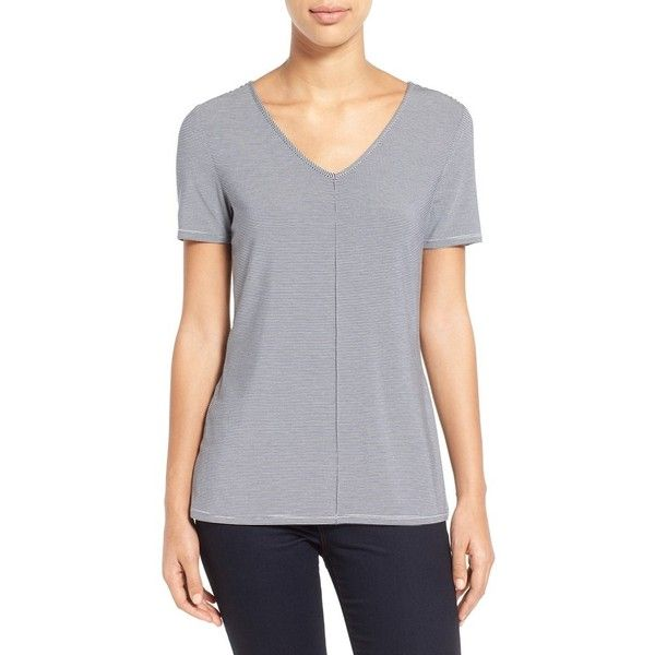 Nordstrom Collection Stripe Stretch Modal V-Neck Tee ($98) ❤ liked on Polyvore featuring tops, t-shirts, short sleeve tops, short sleeve v neck t shirt, short sleeve t shirt, short sleeve v-neck tee and drapey tee