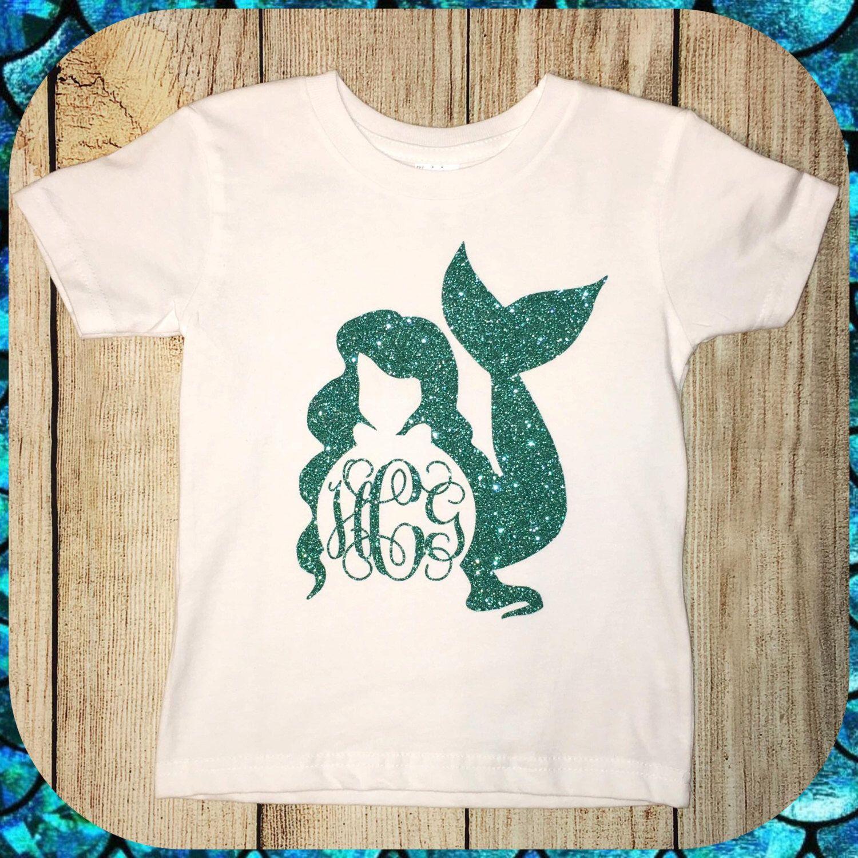 youth toddler infant glitter mermaid monogram t