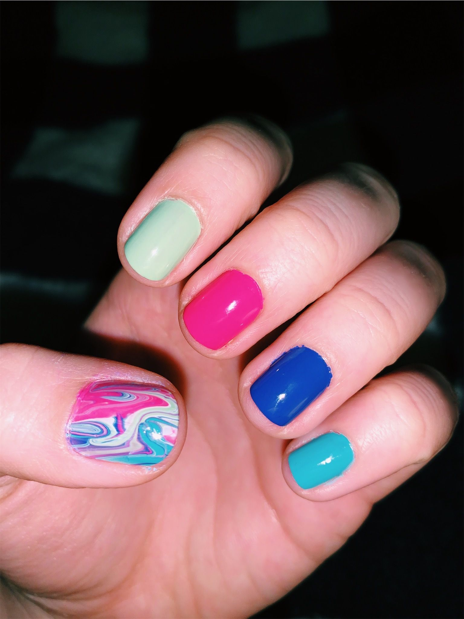 #nails #nailart #diy #watermarble #marble #colorful #popofcolor #accentnails #pop