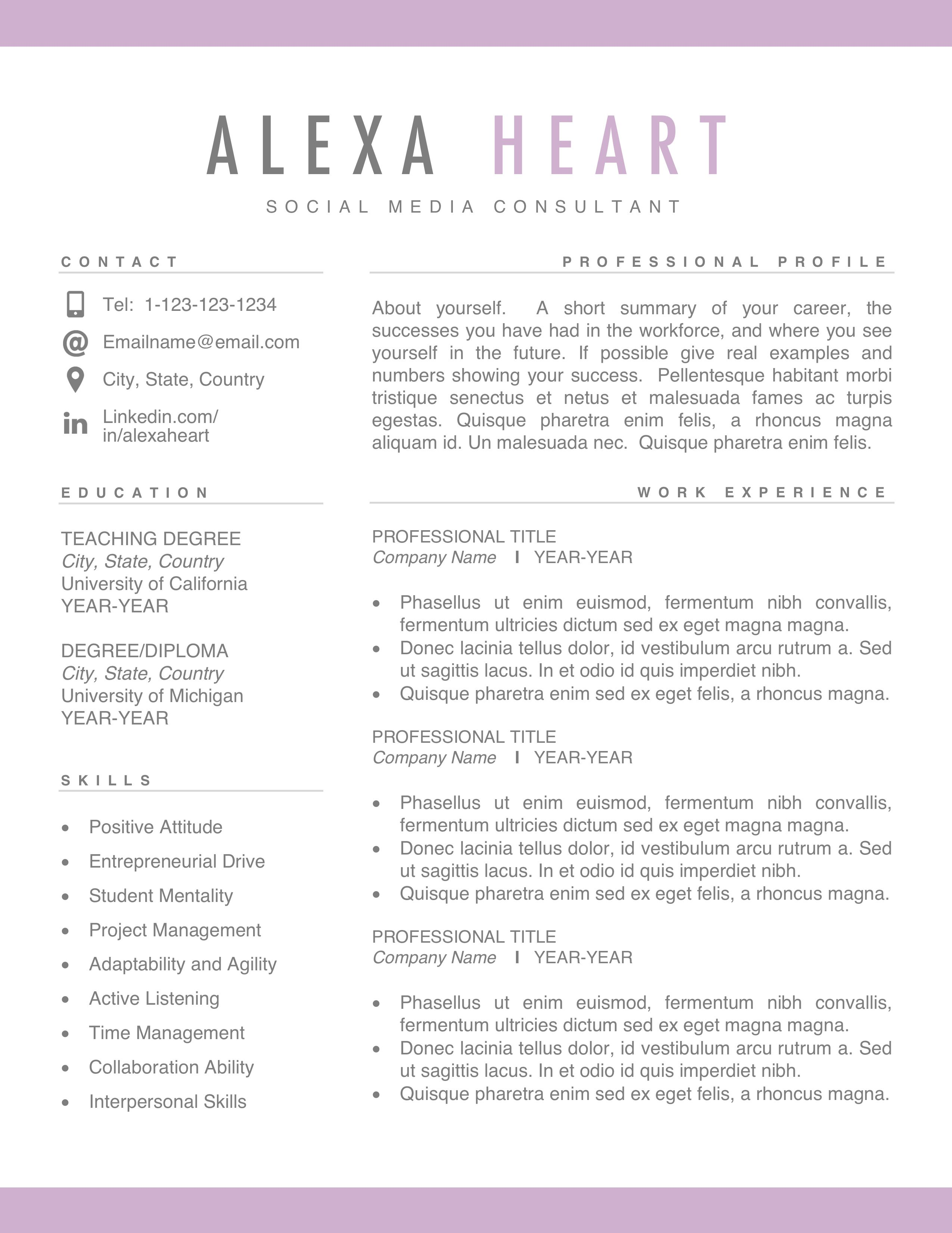 Modern Simple Resume Design Simple Resume Template Simple Resume Resume