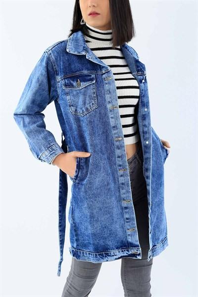 84 95 Tl Mavi Bayan Uzun Kot Ceket 27499b Modamizbir 2020 Kot Ceket Moda Stilleri Yirtik Kotlar