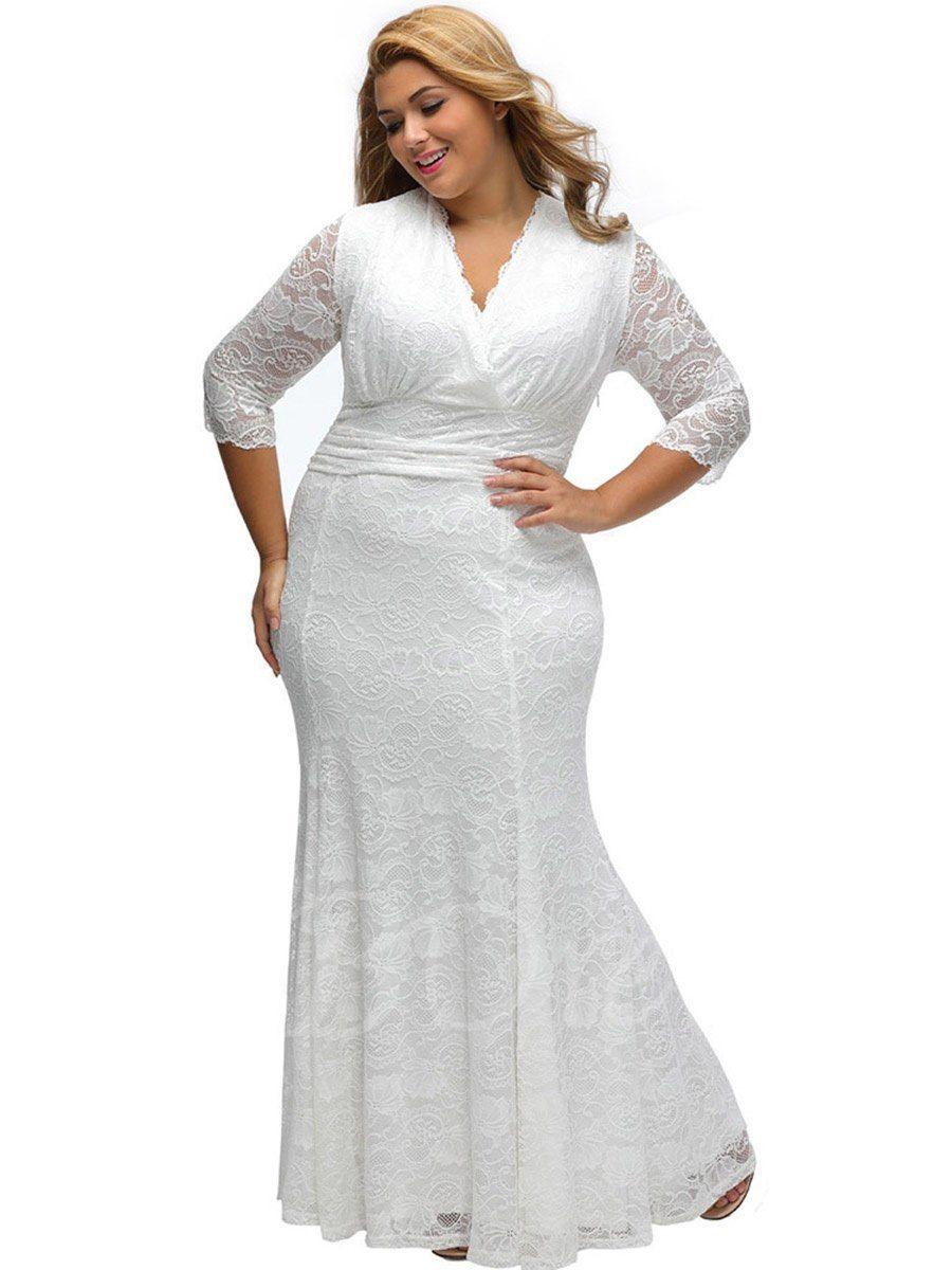 V Neck Plus Size Lace Women S Maxi Dress Womens Maxi Dresses Lace White Dress Maxi Dress With Sleeves [ 1200 x 900 Pixel ]