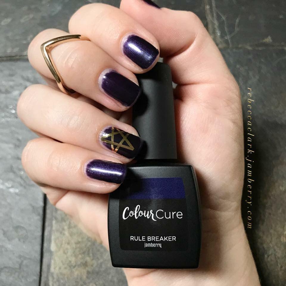 Deep dark purple nail polish color with gold star accent nail   DIY ...