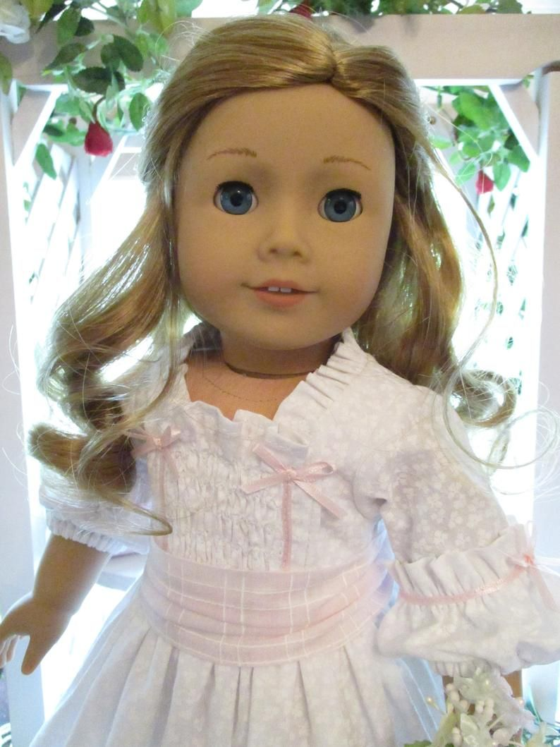 Historic White Colonial Doll Dress to fit your 18 American Girl Doll