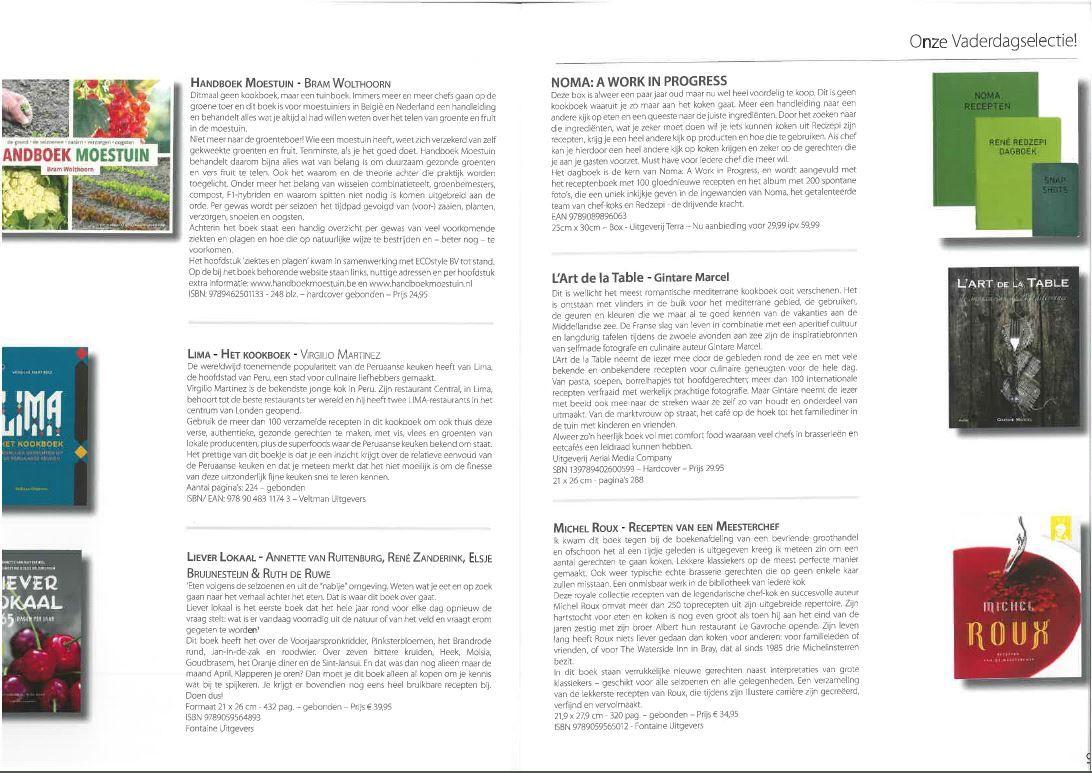'Lima-Het Kookboek', 'Liever lokaal', 'L'art de la table' en 'Recepten van een meesterchef' in het magazine PASSION HI