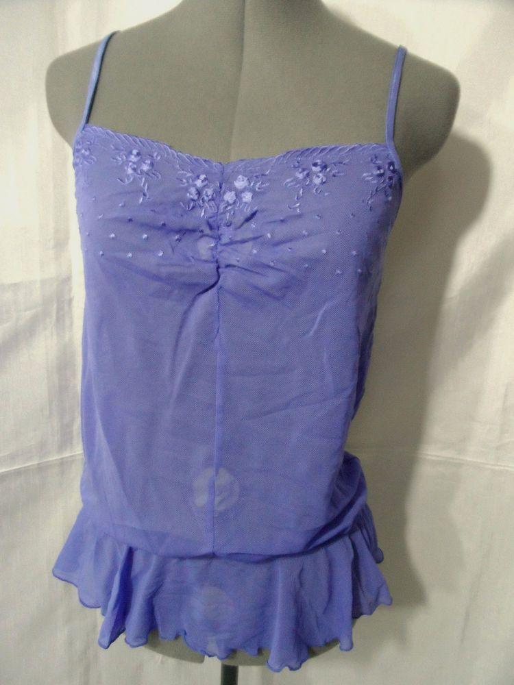 Nwt KIMCHI BLUE Drop Waist Lingerie Cami Top women SML Purple Floral Embroidered #KimchiBlue #Camitanktopcamisoledropwaistsheernet #casualcareerwesternclubwearschoolbeach