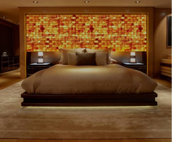 Himalayan Salt Wall Bedroom Interiordesign Saltwall Health Wellness Design Bedroom Brick Wall Bedroom Home Luxurious Bedrooms