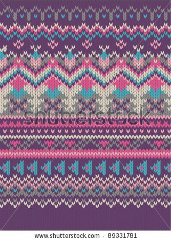 pink Knitted wool pattern background in Fair Isle style by ...