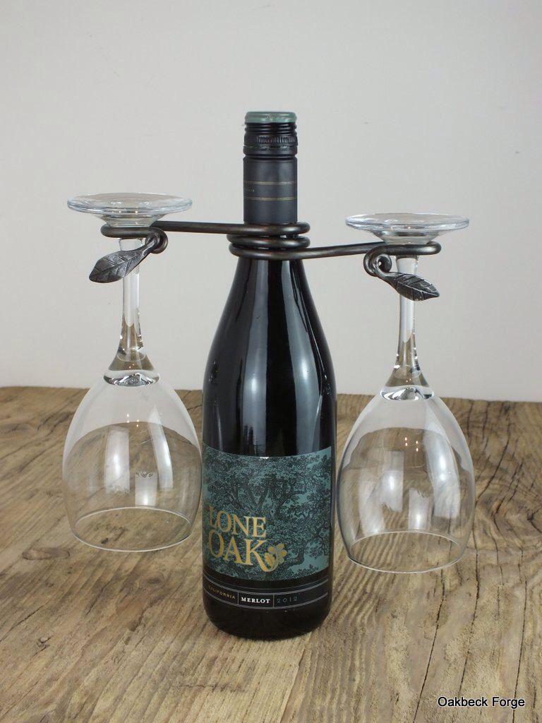 Leaf Wine Glass Holder Original Blacksmith Design By Oakbeckforge
