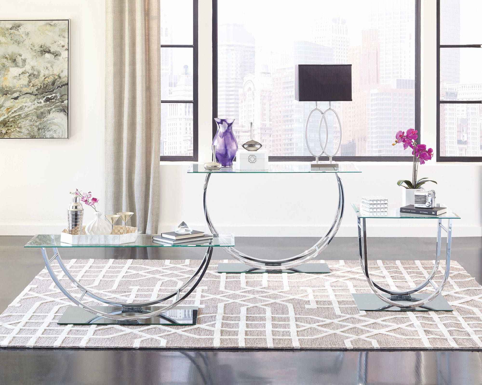 Best Contemporary Chrome Metal Beveled Glass End Table 3 400 x 300