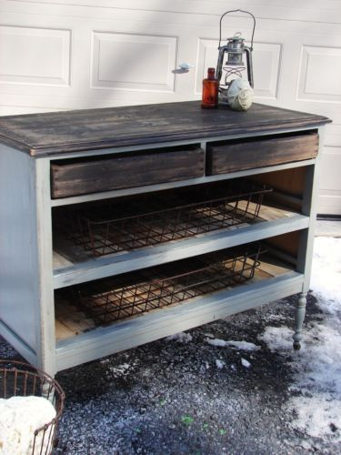 Really like this look ~ Rustic Vintage Dresser Kitchen Island