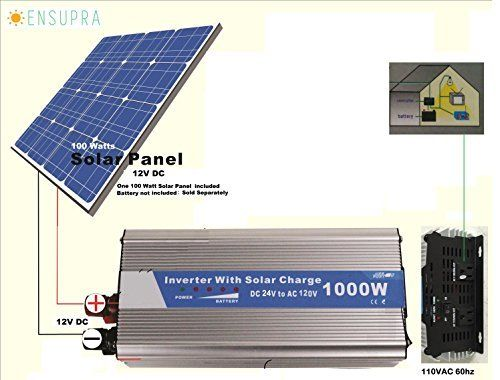 1000 Watt Solar Backup Power Generator Powered By 100 Watt Solar Panel Amp 100ah Battery For Off Grid And Back Up Power Solar Panels Solar 12v Solar Panel