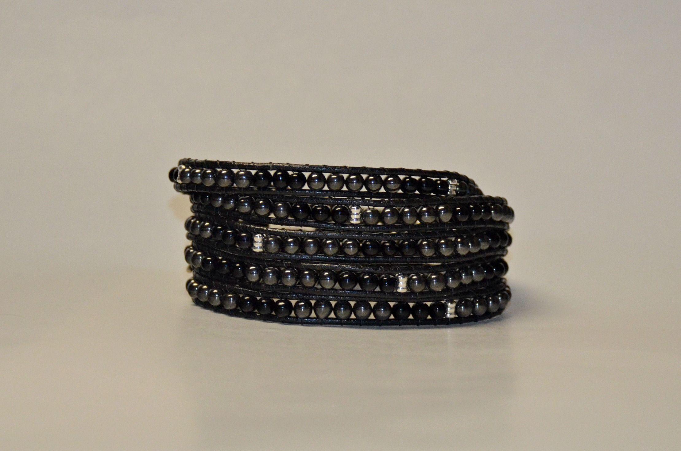 Black and grey multi-wrap bracelet