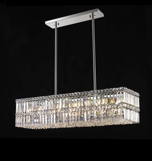 linear crystal chandelier is perfect choice for dining room living room kitchen island - Dining Room Crystal Lighting