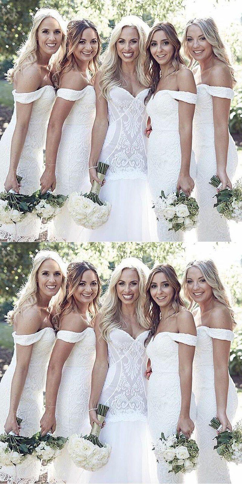 Sheath Off The Shoulder Short White Lace Bridesmaid Dress White Lace Bridesmaid Long Bridesmaid Dresses Mermaid Bridesmaid Dresses [ 1600 x 800 Pixel ]