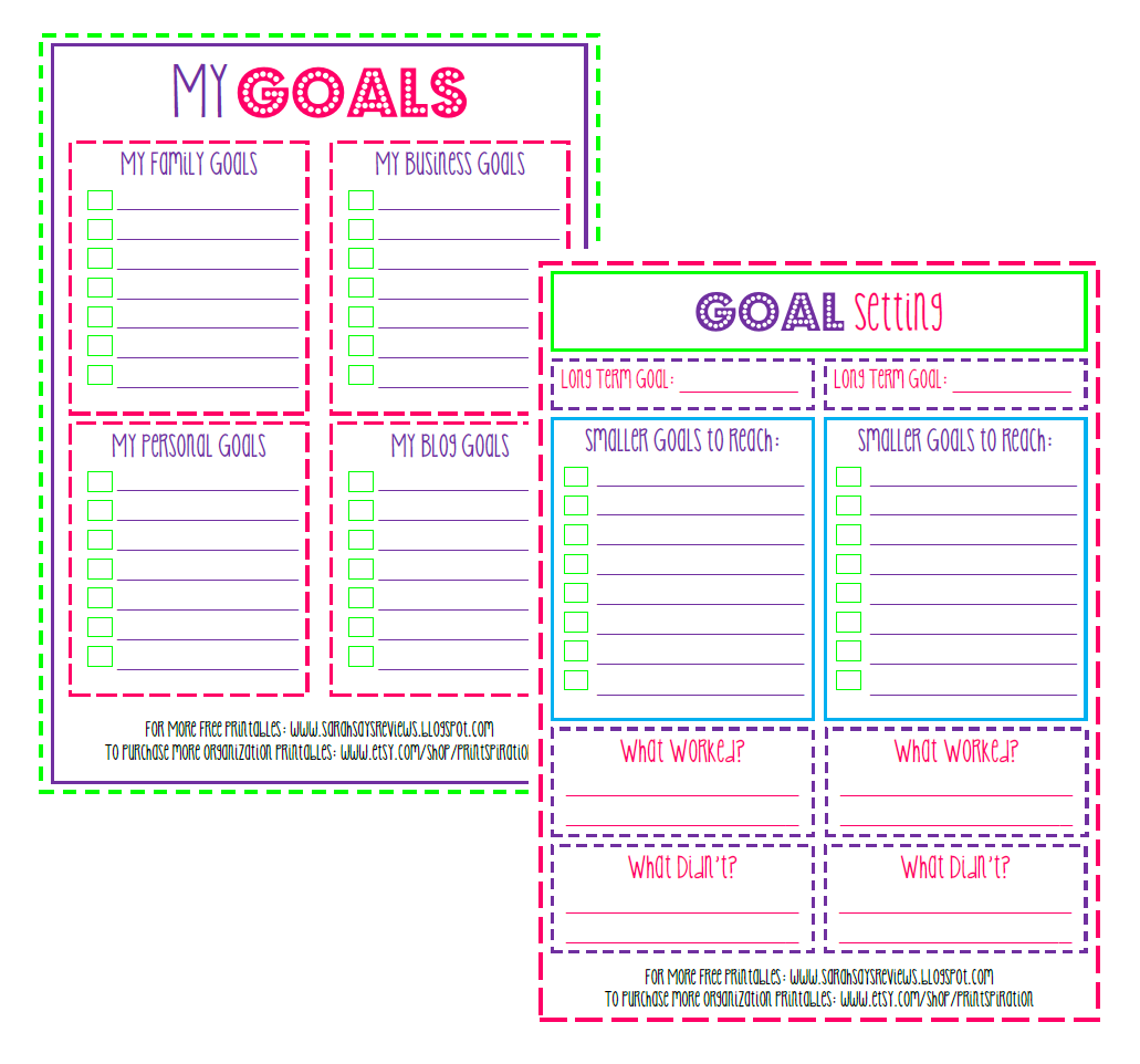 Put It On Paper Free Printable Goal Setting Worksheets