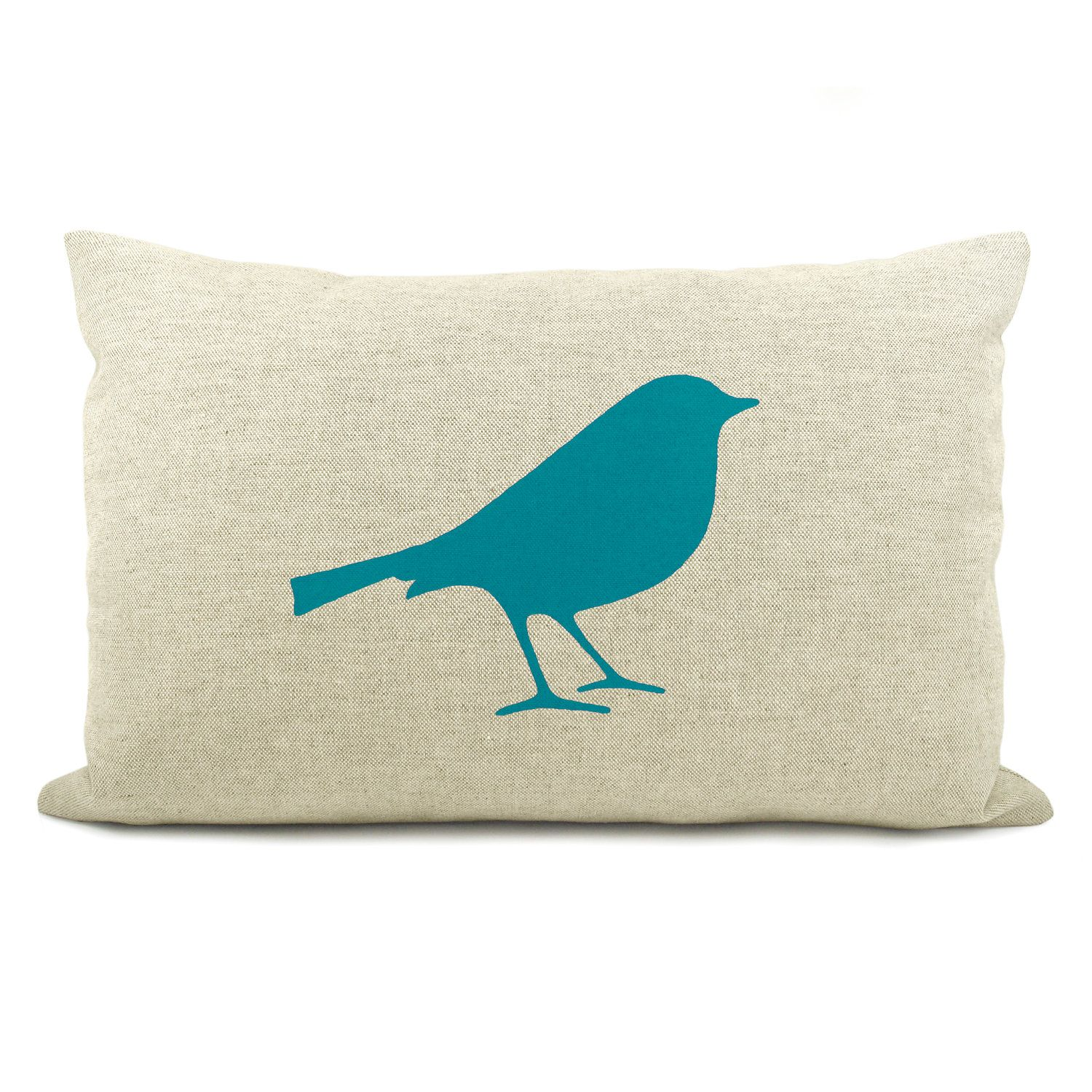 Bird Pillow Cover  Teal Blue Bird Print On Natural