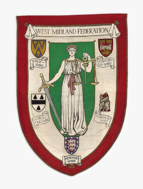 Photo of Banner of the West Midlands Federation of the National Union of Women's Suffrage Societies, 1912
