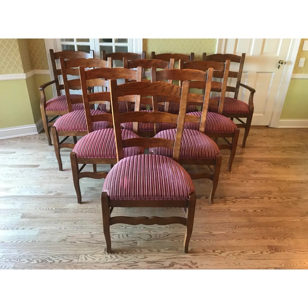 French Country Henredon Oak Kitchen Dining Chairs Set of
