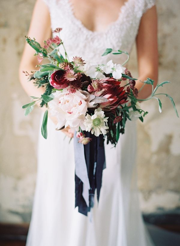Berry and Blush Bouquet with Blue Ribbon