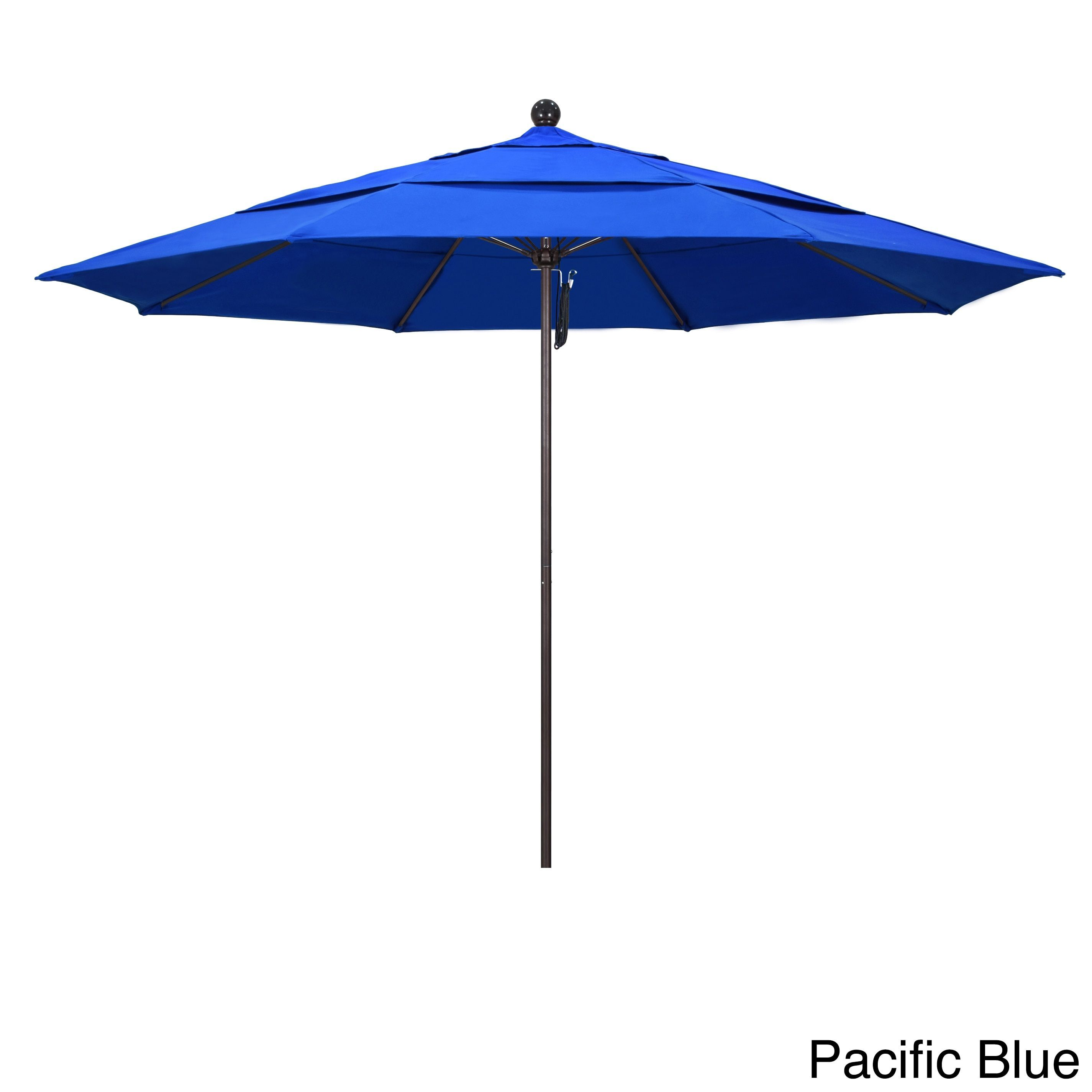 California Umbrella 11' Rd Frame, Fiberglass Rib Market Umbrella, Push Open, Bronze Finish, Sunbrella Fabric