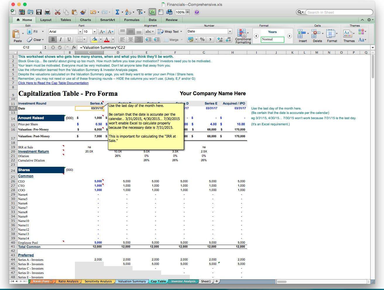 Startup Valuation Spreadsheet Finance Jobs Finance App Business Planning