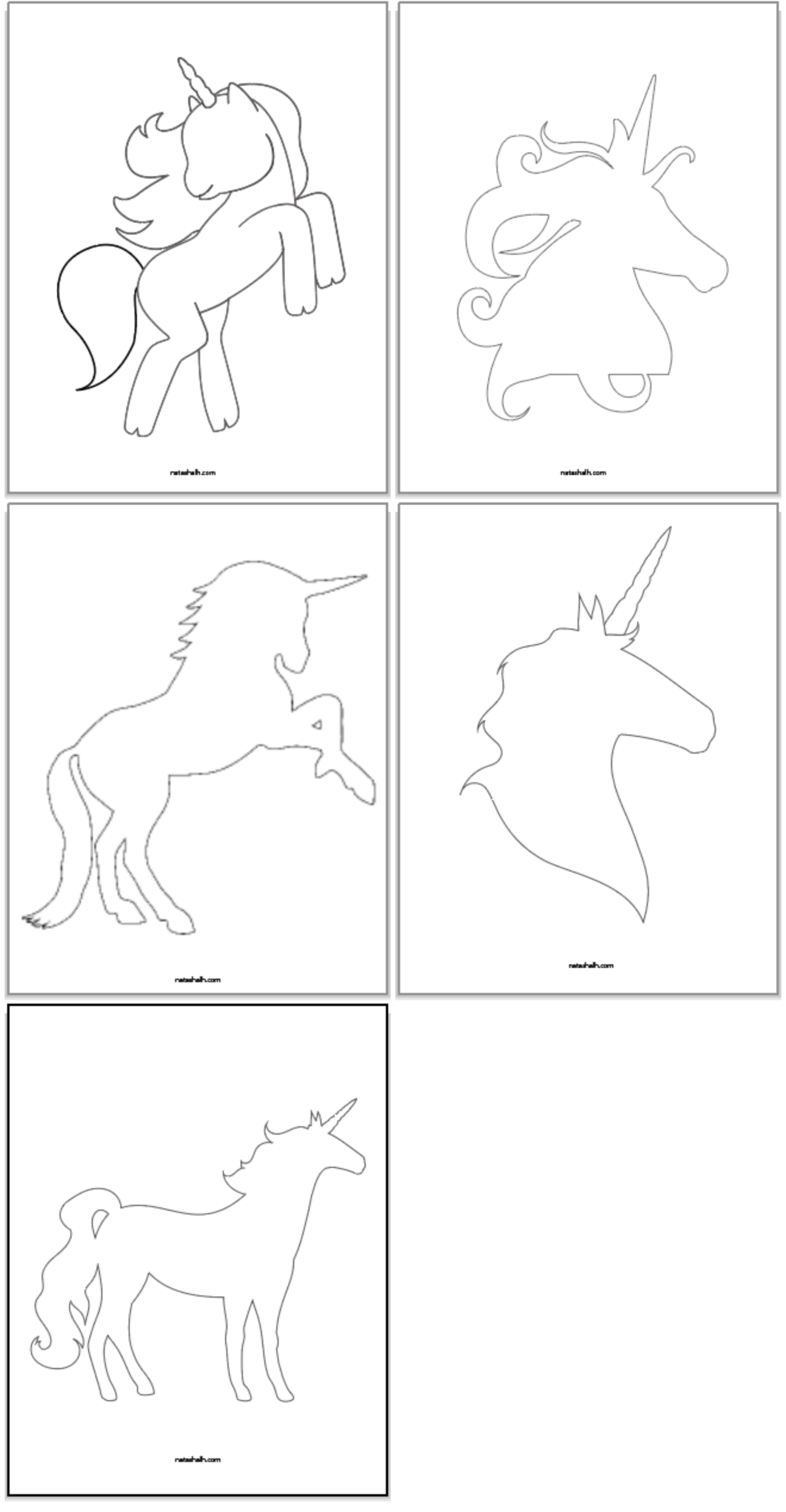 5 Free Printable Unicorn Templates For Cute Unicorn Crafts Unicorn Stencil Unicorn Printables Unicorn Outline