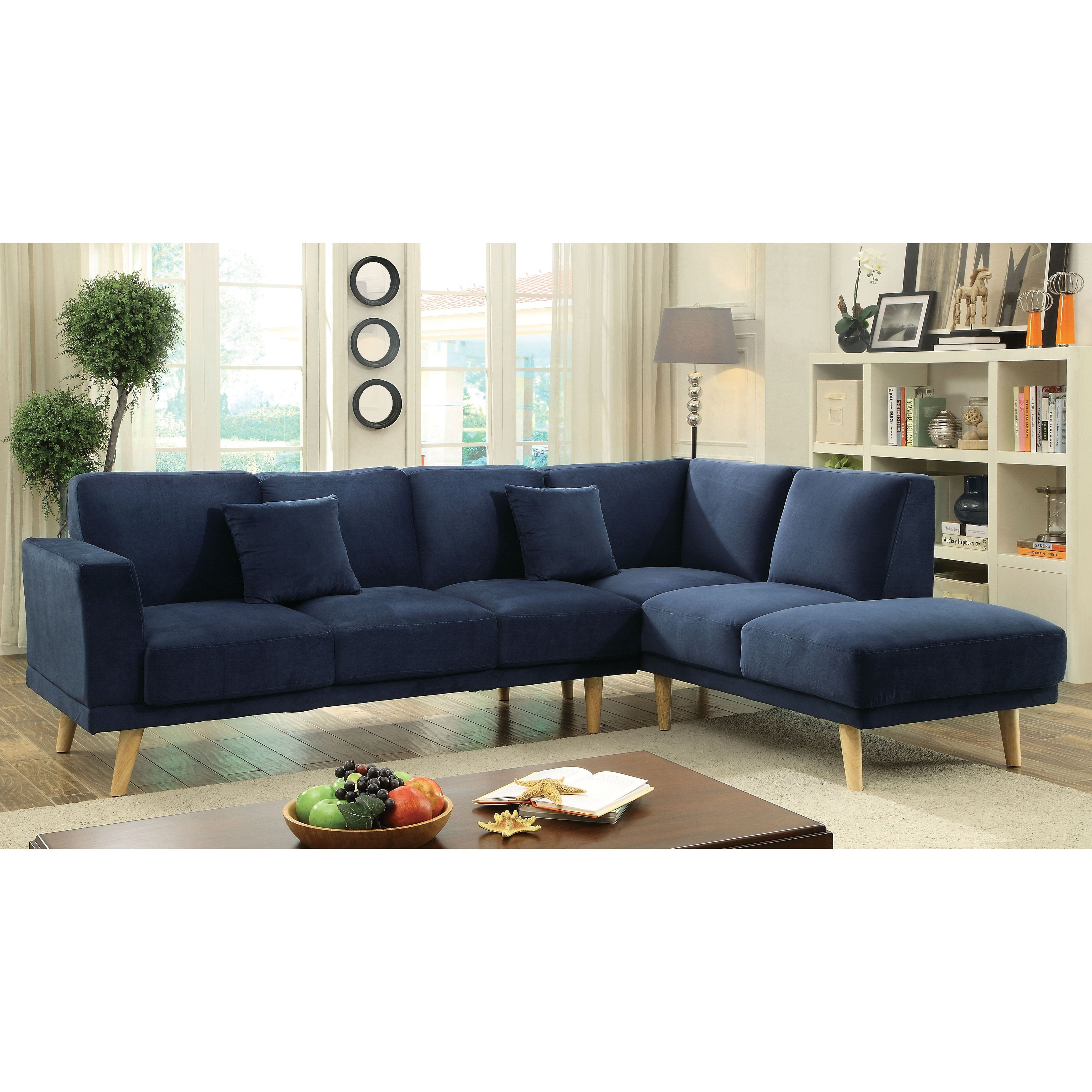 Furniture Of America Rama Mid Century Modern Flannelette L Shaped Sectional Navy Blue Fabric