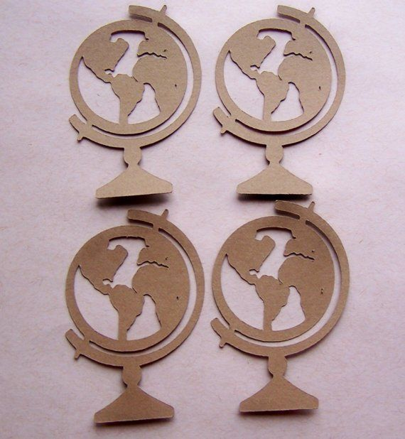 Die Cut World Globe Tags Card Toppers 4pcs by Paperquick on Etsy, $1.75