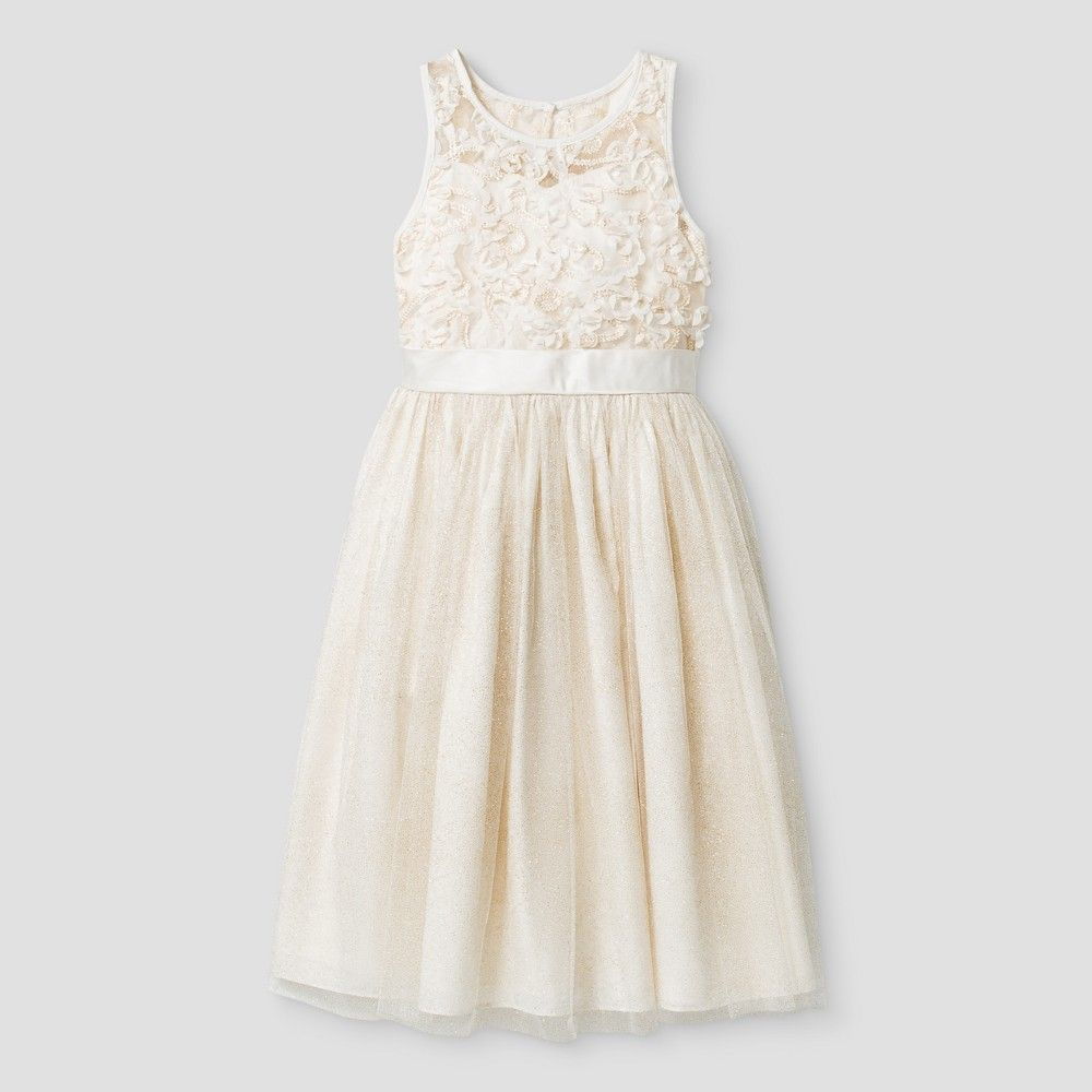 Girls Sequin Embroidered Dress Mia And Mimi Ivory Xl White Products
