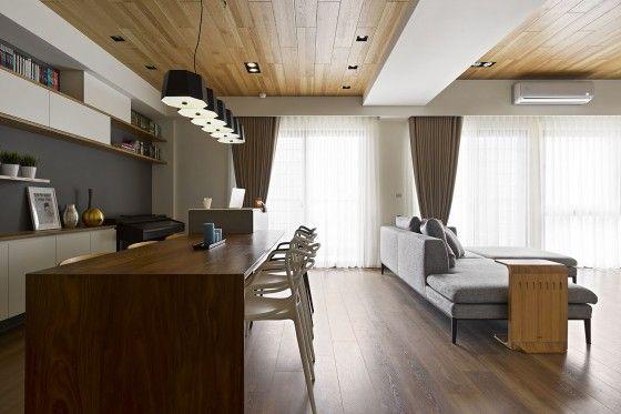 Plano y diseño de interiores de moderno departamento de tres