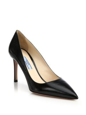 e6a9253d062 PRADA Patent Saffiano Leather Point-Toe Pumps.  prada  shoes  pumps ...