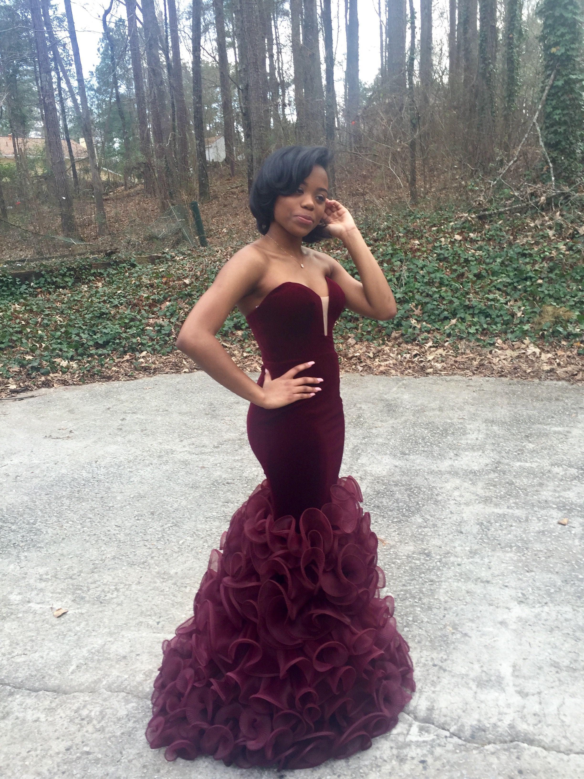 Strapless burgundy velvet mermaid dress for sale i am the real