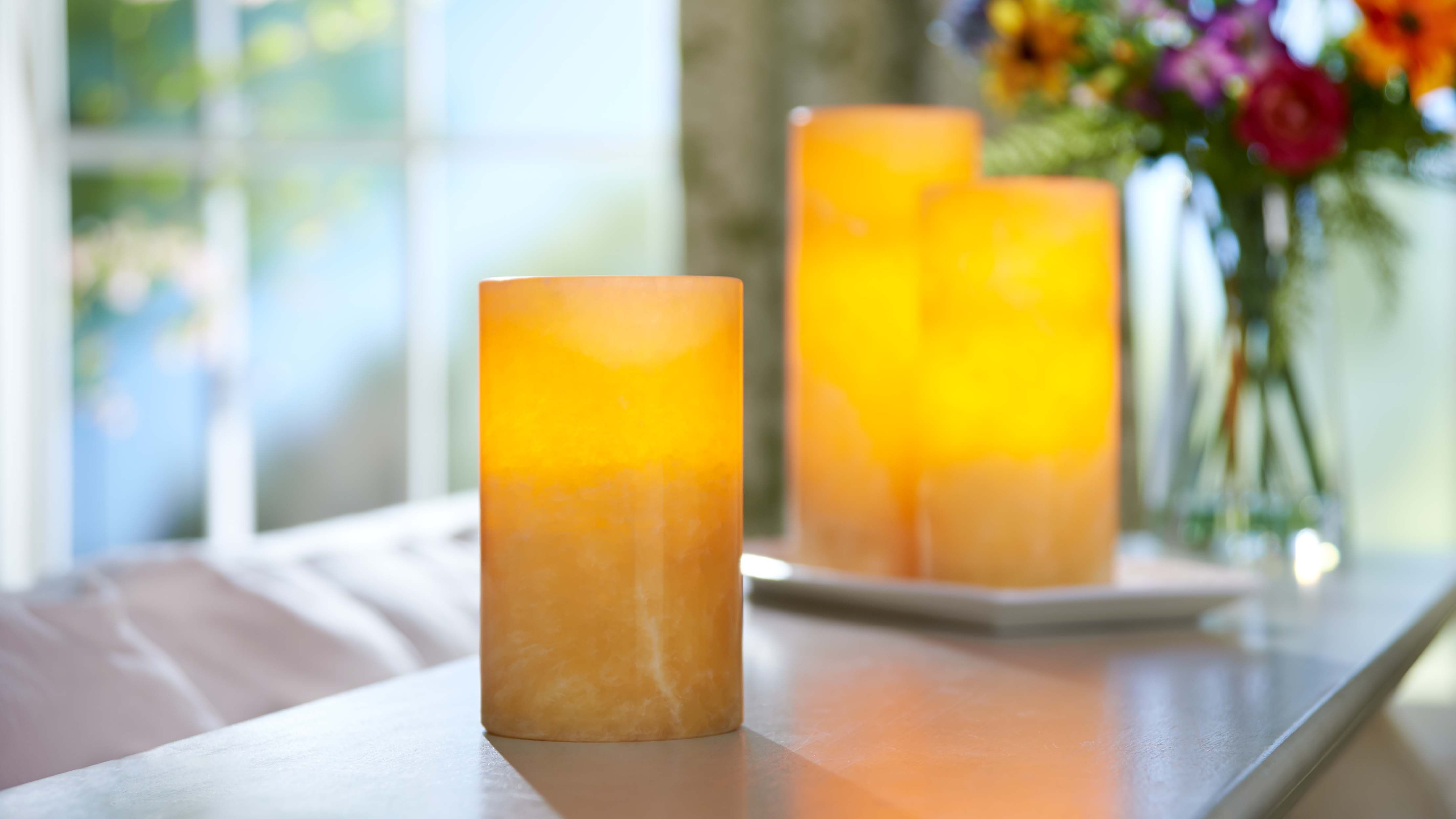 Flameless Pillars Made Of Marble Two Heights Available 6 H207922 And 7 5 H207993 Http Qvc Co Shop Valerieparrhil Candles Flameless Candles Candle Making