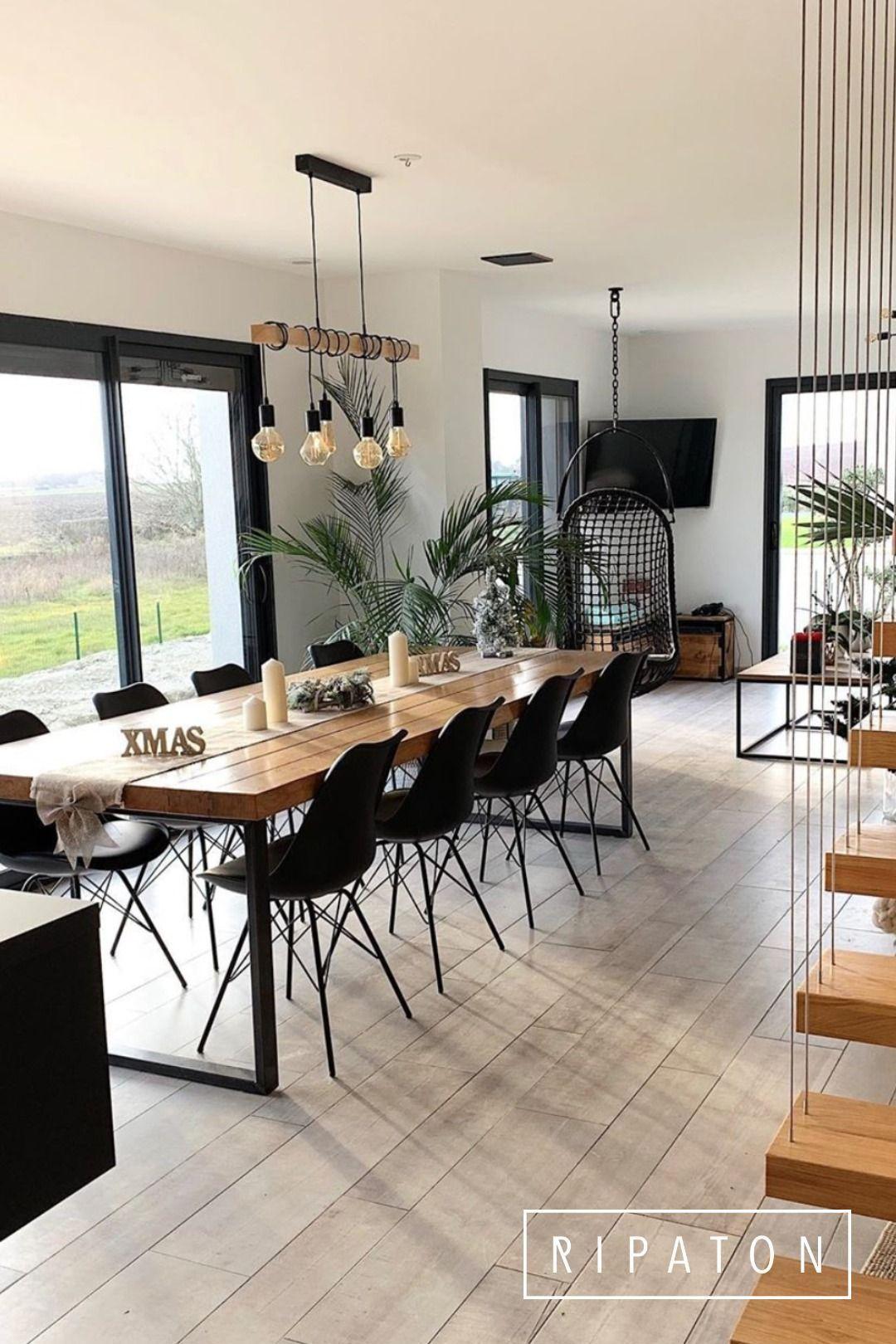 Großer Esstisch mit Stahlbeinen - #esstisch #stahlbeinen - #ModernHomeDecor - Welcome to Blog