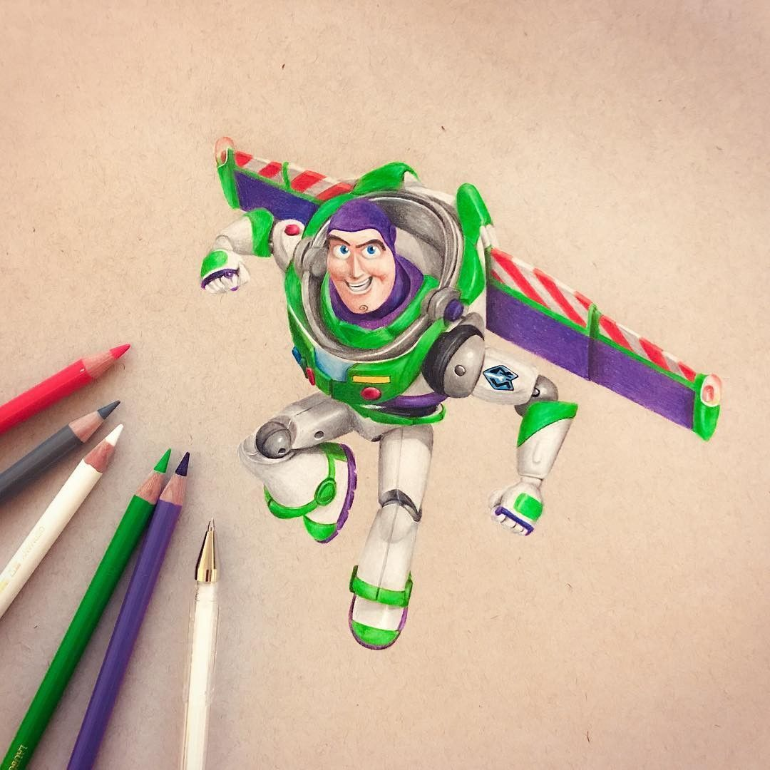 Buzz Lightyear To The Rescue From Disney Pixar S Toy Story Franchise Disney Art Drawings Disney Character Drawings Cartoon Drawings