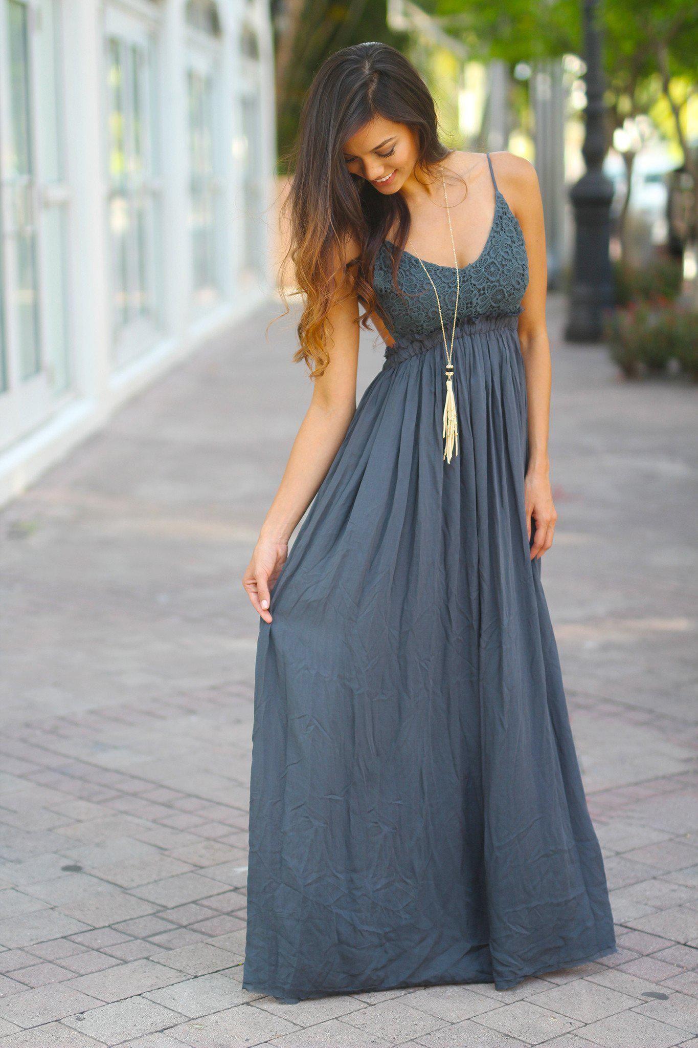e0df04bfda7 Midnight Navy Lace Maxi Dress With Open Back and Frayed Hem ...