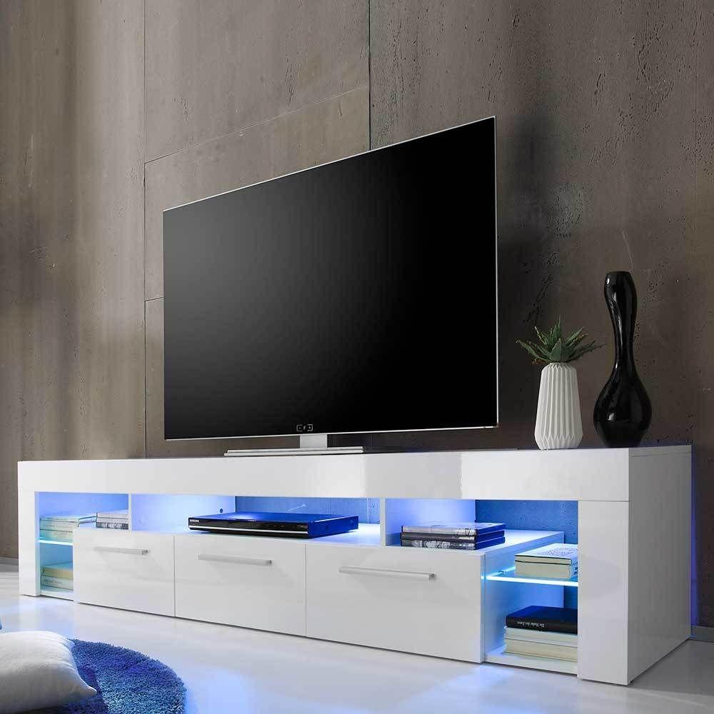 Design Lowboard in Weiß Hochglanz Beleuchtung | Wohnzimmer ...