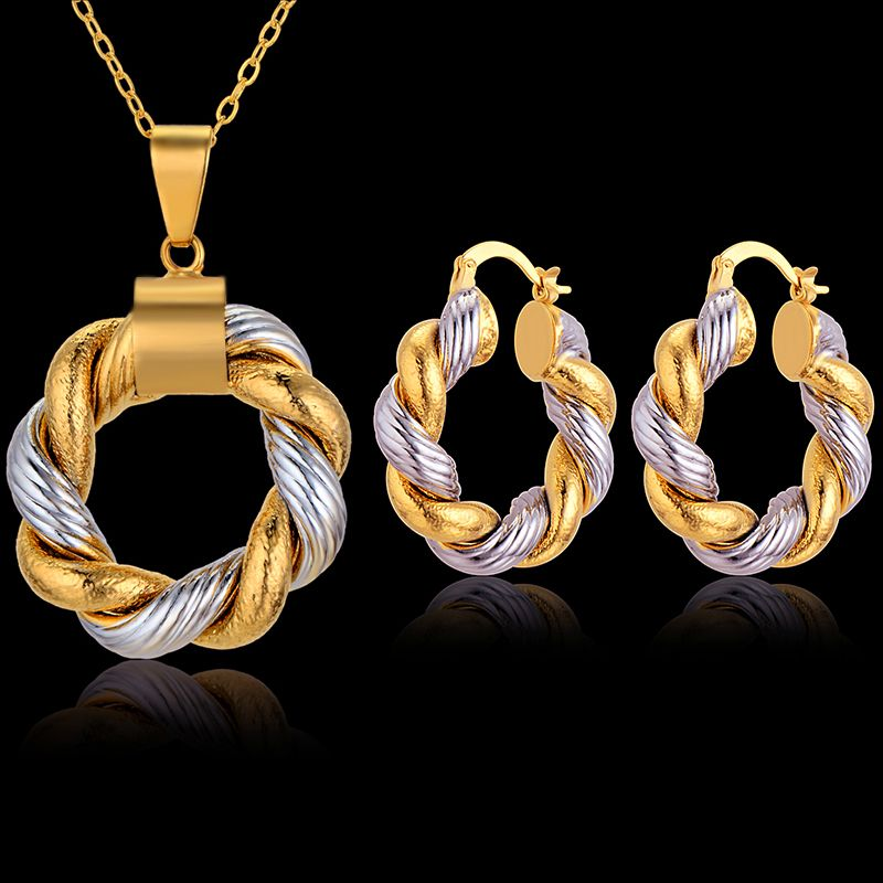 Dubai Wedding Jewelry Sets, Women Two Tone Cuban Chain Necklace ...