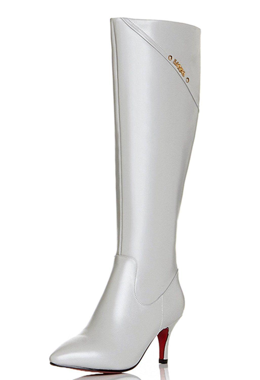 54df4af99b5 Nine Seven Genuine Leather Women s Pointed Toe Stiletto Heel Zip Knee High  Handmade Boot   Find