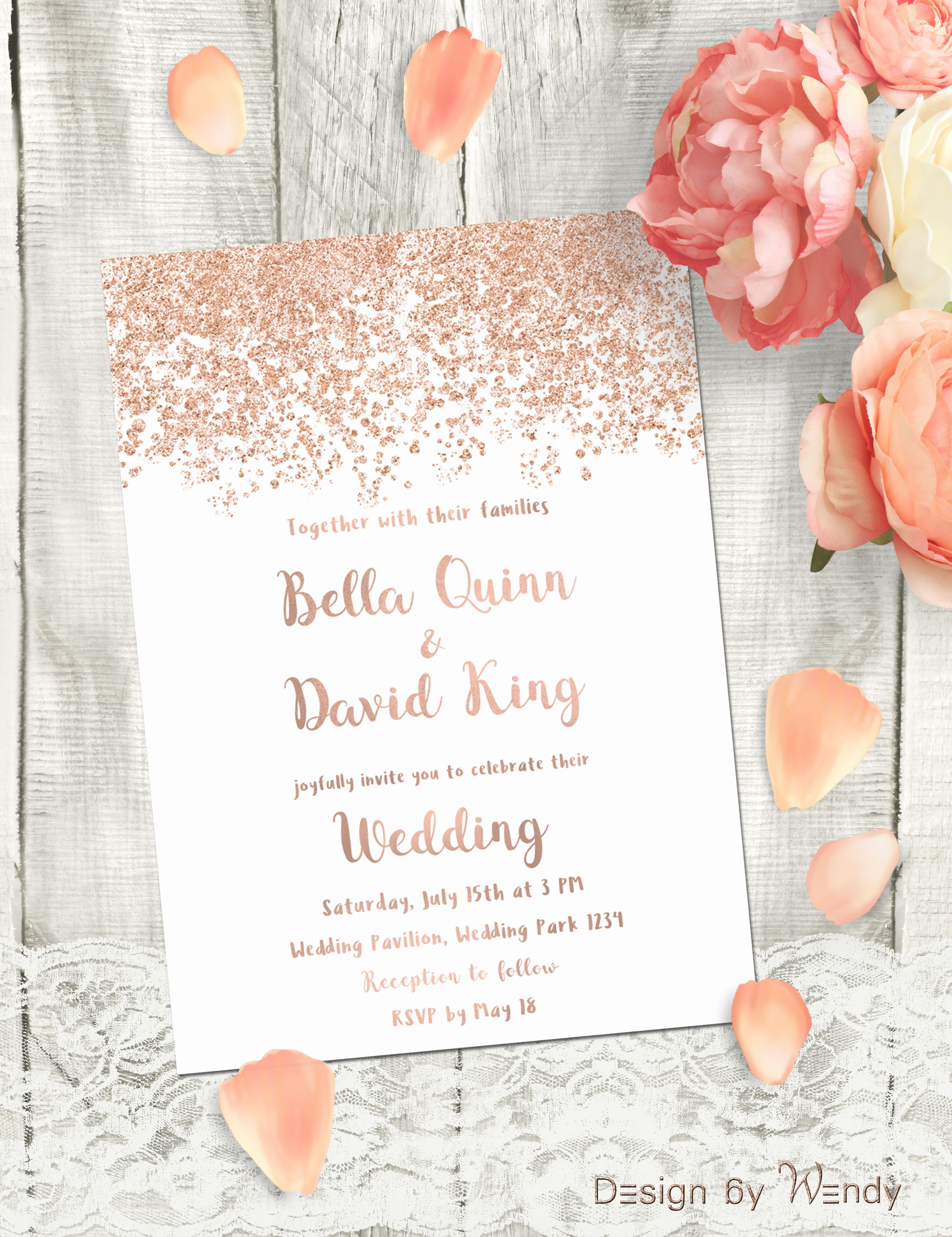 Rose gold wedding invitation, simple printable invitation rose gold ...