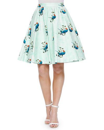 T9XYP Alice + Olivia Earla Bird-Print Flare Skirt